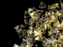Abstract background with triangular and pyramidal gold particles. 3d render illustration Royalty Free Stock Images