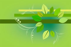 Abstract background geometry and plants. Abstract background with twigs and leaves stock illustration