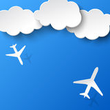 Abstract background with two airplanes and clouds. Vector illustration stock illustration