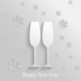 Abstract Background with Two Glasses of Champagne. And Snowflakes stock illustration