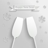 Abstract Background with Two Glasses of Champagne. And Snowflakes royalty free illustration