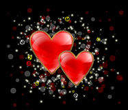Abstract background with two hearts Royalty Free Stock Photography