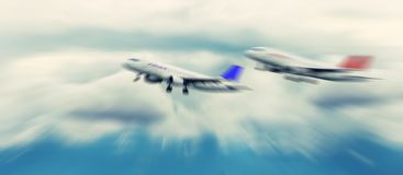 Abstract background. Two passenger jets flying above the clouds. Royalty Free Stock Photos