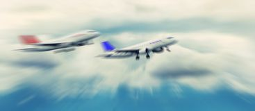 Abstract background. Two passenger jets flying above the clouds. Stock Photography