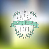Abstract Background with typographical quote. Enjoy your life, vector design Stock Illustration