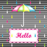 Abstract background with an umbrella and rain. Vector banner background. Colorful rain. Frame for text. Text Hello vector illustration