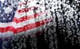 Abstract background of USA flag with bokeh. With copy space Royalty Free Stock Images
