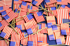 Abstract background of USA Stars and Stripes, red white and blue national toothpick flags Royalty Free Stock Images
