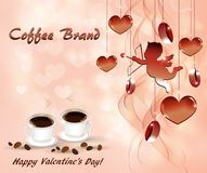 Abstract background for Valentine`s day with cups of coffee. With hearts and Cupid royalty free illustration