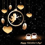 Abstract background for Valentine`s day with cups of coffee. With hearts and Cupid stock illustration