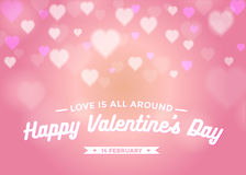 Abstract Background valentine's Day with hearts bokeh in pink color. Stock Images