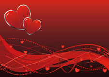 Abstract background - Valentine's day waves. Abstract background - Valentine's day - red hearts and waves Stock Image