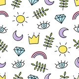 Abstract background with various cartoon elements. Seamless pattern with rainbow, crown, sun, eye, leaf, moon and diamond. royalty free illustration