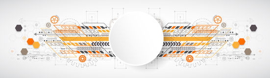 Abstract background with various technological elements. Vector illustration Stock Photo