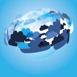 Abstract Background Vector - Clouds. Colorful Abstract Background Design - Clouds Around a Transparent Glass Globe - Illustration in Editable Vector Format Stock Photos