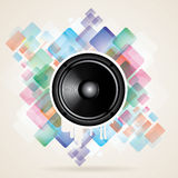 Abstract Background Vector illustration. With black speaker and splash Stock Photography