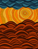 Abstract background. Vector image, sun, clouds, sundy hills, waves. Golden sunset. Abstract background. Vector image sun, clouds sundy hills, waves. Golden Stock Photos