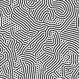 Abstract background of vector organic irregular lines maze pattern. Black and white chaotic design stock illustration