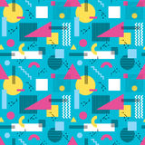 Abstract background vector seamless pattern in fashion retro style of Memphis italian design group 80s. Stock Photo