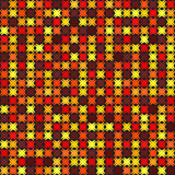 Abstract background. Vector seamless pattern. Maroon, red, orange, gold, yellow shapes on black backdrop Royalty Free Stock Image