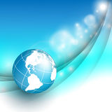 Abstract background. Vector background with wavy lines and globe. Eps10 Royalty Free Stock Photo