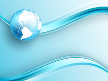 Abstract background. Vector background with wavy lines and globe. Eps10 Royalty Free Stock Images