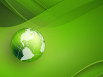 Abstract background. Vector background with wavy lines and globe. Eps10 Stock Photo