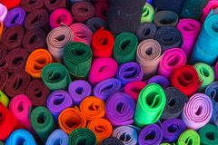 Abstract background, colorful felt rolls Stock Image