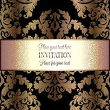 Abstract background with vintage frame. Abstract background with roses, luxury beige and gold vintage frame, victorian banner, damask floral wallpaper ornaments vector illustration
