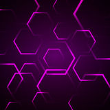 Abstract background with violet hexagon Stock Photo