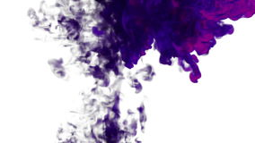 Abstract background violet Ink in water or smoke with alpha mask for motion effects and compositing VFX. Beautiful Ink stock video footage