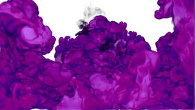 Abstract background violet Ink in water or smoke with alpha mask for motion effects and compositing VFX. Beautiful Ink stock footage