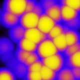 Abstract background with violet and yellow spots. Abstract background with spots of various sizes in violet and yellow hues. Abstract image Royalty Free Stock Photography