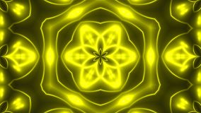 Abstract background with VJ Fractal Yellow kaleidoscopic. 3d rendering digital backdrop.  Vector Illustration