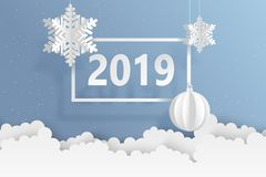 Abstract background with volumetric paper snowflakes and christm. As ball. White 3D snowflakes and decorations. 2019 new year card template. Winter paper art royalty free illustration