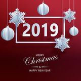 Abstract background with volumetric paper snowflakes and christm. As ball. White 3D snowflakes and decorations. 2019 new year card template. Winter paper art vector illustration