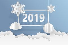 Abstract background with volumetric paper snowflakes and christm. As ball. White 3D snowflakes and decorations. 2019 new year card template. Winter paper art Stock Illustration