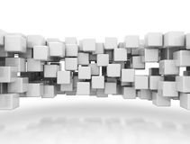 Abstract background wall. Of squares or cubes reflecting on white stock illustration