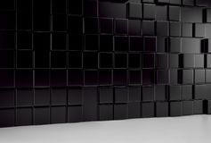 Abstract background wall of black cubes and white floor. 3d render. Ing royalty free illustration