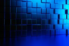 Abstract background wall of blue cubes and blue floor. 3d render. Ing Stock Photo