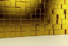 Abstract background wall of gold cubes and light floor. 3d render. Ing Stock Image