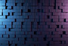 Abstract background wall with parametric cubic pattern. 3d rendering illustration. Blue and purple color Royalty Free Stock Image