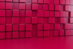 Abstract background wall of red cubes and red floor. 3d render. Ing Royalty Free Stock Photos