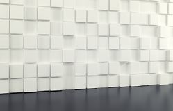 Abstract background wall of white cubes and black floor. 3d render. Ing stock illustration