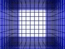 Abstract background for wallpaper or design. Square colored modern geometric tunnel. 3D Royalty Free Stock Photo