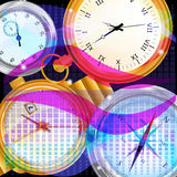 Abstract background with watches. Waves and squares with watches on the black background Royalty Free Stock Images