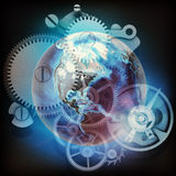 Abstract background with watchwork and globe model. Elements of this image furnished by NASA royalty free illustration