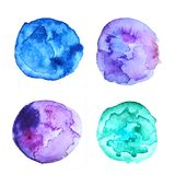 Abstract background. Watercolor blue drops. Design of cards, invitations, flyers, business cards. Purple and blue watercolor stains. Planets. Abstract design for royalty free stock photography