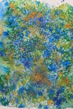 Abstract background watercolor and mixed media. An original painting from watercolor and mixed media in blue, green, yellow and orange royalty free illustration