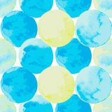 Abstract background with watercolor painted circles. Abstract background with watercolor painted circles in blue, green and yellow. Seamless pattern in marine Royalty Free Stock Photography